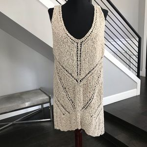 Astr open weave neutral beige sweater tank top